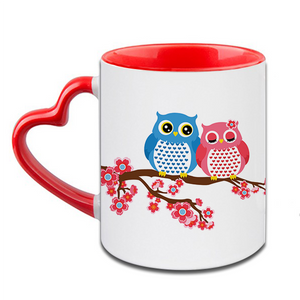 Owl Love Heart Handle Ceramic  Red Mug / 350 Ml
