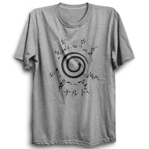 Unisex Naruto Kyubi Seal Half Sleeve Cotton Grey Tshirts