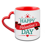 Happy Valentine Day Heart Handle Ceramic  Red Mug / 350 Ml