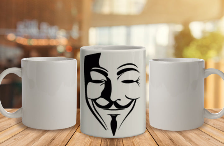 Anonymous Face Ceramic Mug, 350 Ml