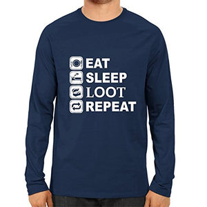 Unisex Eat Sleep   Full Sleeve 100 % Cotton Blue Tshirts