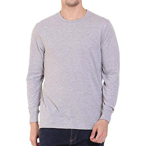 Unisex Basic Full Sleeve Plain Grey T-shirt