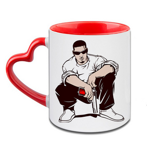 Gangster Heart Handle Ceramic  Red Mug / 350 Ml