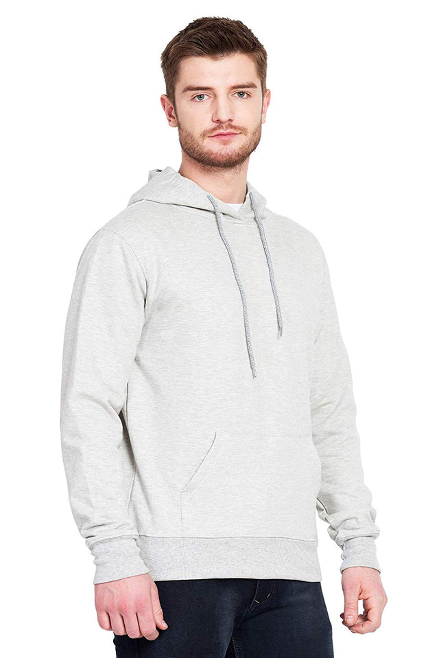 100 % Cotton Hoodies For Men In Grey Color
