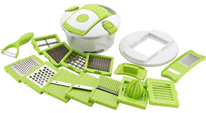 VEGETABLE AND FRUIT CUTTER CHOPPER | GRATERS JUICER CHIPSER, DICER | SLICER WITH AIRTIGHT UNBREAKABLE CONTAINER - GREEN