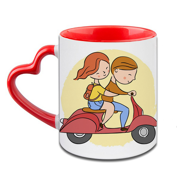 Love Couple Scooter Heart Handle Ceramic  Red Mug / 350 Ml