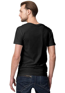 Unisex Marshmellow 100 % Cotton Printed Half Sleeve Tshirt In Black Color