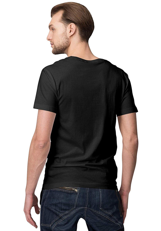 Unisex How's The Josh 100 % Cotton Printed Half Sleeves Tshirt In Black Color