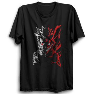 Unisex Naruto NineTail Half Sleeve Black Cotton Tshirts