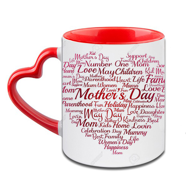 Mothers Day Heart Handle Ceramic  Red Mug / 350 Ml