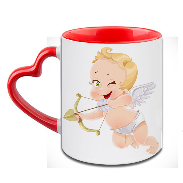 Little Cupid Heart Handle Ceramic  Red Mug / 350 Ml