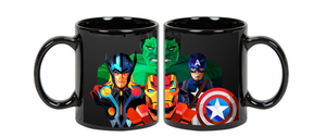 Avengers Superhero Ceramic  Black  Mug, 350 Ml