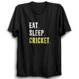 CRIC 37 - Eat Sleep Cricket-Half Sleeve-Black