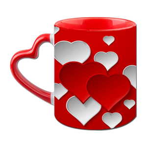 Heart Love Heart Handle Ceramic  Red Mug / 350 Ml