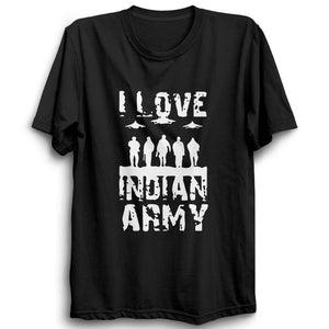 I Love Indian Army Half Sleeve Black