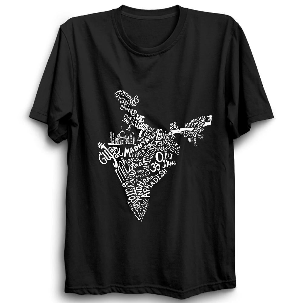 Indian States Map Half Sleeve Black