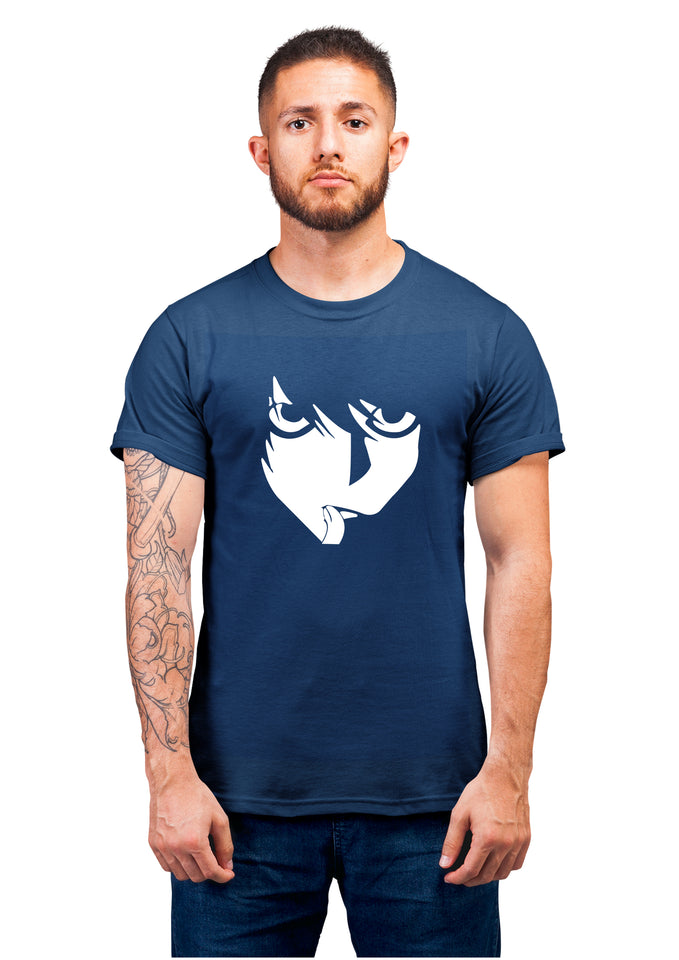 Unisex L Face Half Sleeve Cotton Navy Blue Tshirts