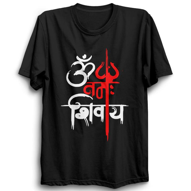 Om Namah Shivaya With Trishul-Half Sleeve Black