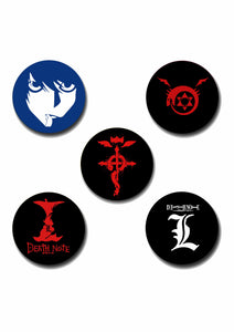 Anime Design Pin Badge Pack of 5