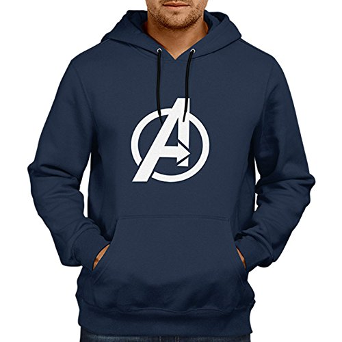 Unisex Avenger 100 % Cotton Printed Hoodies In Blue Color