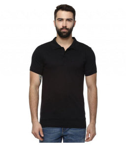 Unisex Basic Polo Black T-shirt