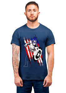 Captain America 2 Half Sleeve Navy Blue
