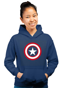 Caption America Superhero Unisex 100% Cotton Printed Hoodie (Navy Blue)