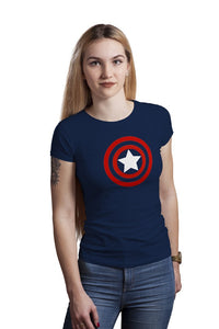 Unisex Caption America Logo 100 % Cotton Printed Half Sleeves Tshirt In Black Color