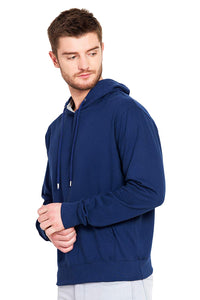 100 % Cotton Hoodies For Men In Blue Color