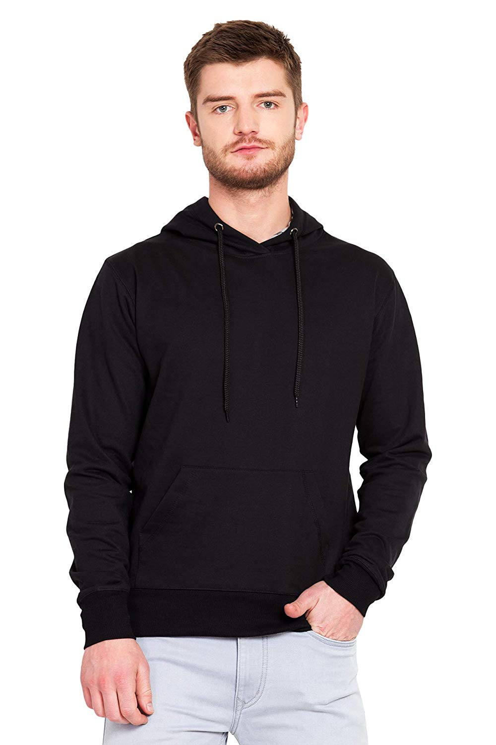 100 % Cotton Hoodies For Men In Black Color