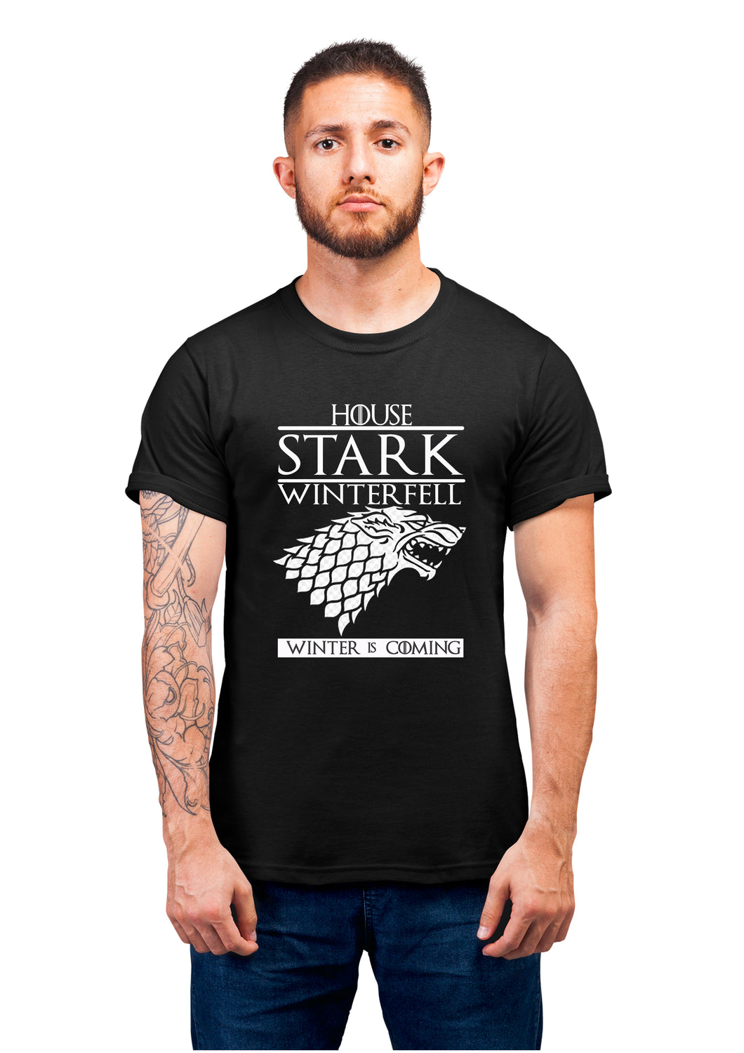 Got-46 House Stark Winter Feel Winter Is Coming Half Sleeve Black