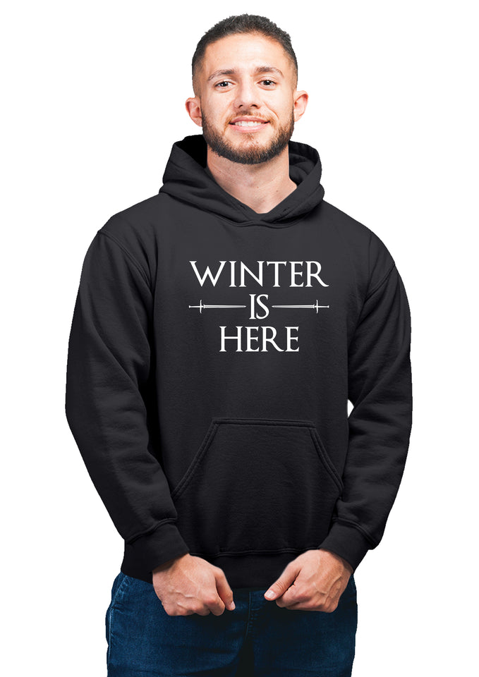 GOT-53 Winter Is Here Black Hoodie Unisex 100% Cotton Printed Hoodie ( Black)