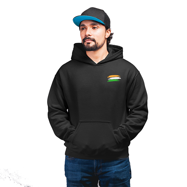 Unisex Indian Flag 100 % Cotton Printed Hoodies In Black Color