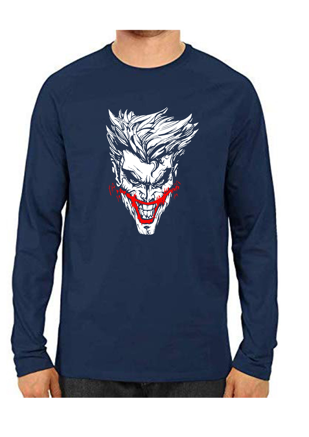 unisex Joker Blue Full Sleeve Cotton  Tshirts