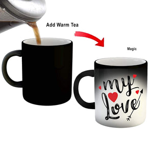 Create Your Desire™ My Love Quotes Printed Black Magic Coffee Mug Magic Mug, 325ml