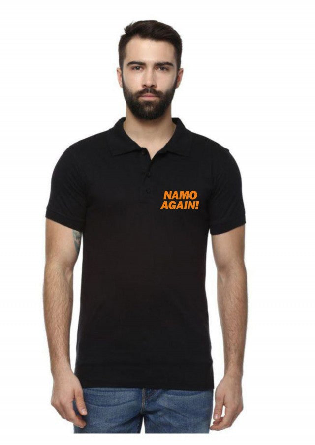 Unisex Namo Again Polo Black T-shirt