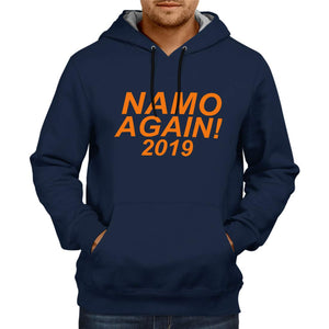 Unisex Namo Again Modi  100 % Cotton Printed Hoodies In Blue Color