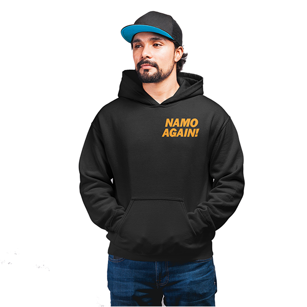 Unisex Namo Again  100 % Cotton Printed Hoodies In Black Color