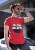 Unisex Namo Again 100 % Cotton Printed Half Sleeve Tshirt In Red Color