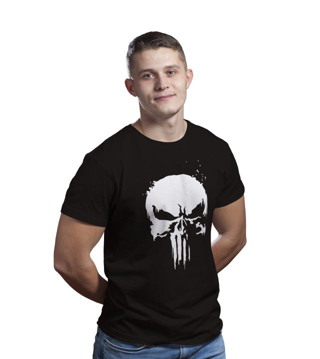 Unisex Punisher Super Hero 100 % Cotton Printed Half Sleeves Tshirt In Black Color
