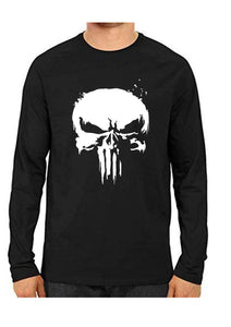 Unisex Punisher Black Full Sleeve Cotton  Tshirts