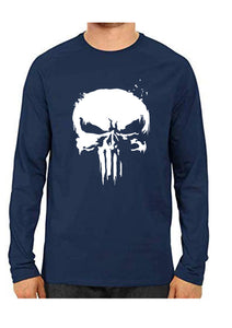 Unisex Punisher Blue Full Sleeve Cotton  Tshirts