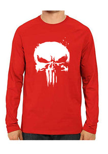 Unisex Punisher Red Full Sleeve Cotton  Tshirts