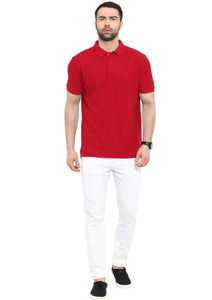 Unisex Basic Polo Red T-shirt