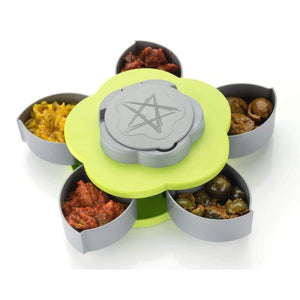 MULTI PURPOSE SPICE, MASALA, PICKLE, SNACKS FLOWER CANDY, DRY FRUIT STORAGE BOX WITH SMART ROTATING TRAY SET FOR HOME AND KITCHEN , MEDIUM, MULTICOLOUR