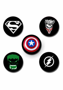 Superhero Design Pin Badge Pack of 5
