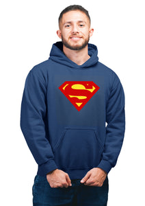 Supermen 2 Superhero Unisex 100% Cotton Printed Hoodie (Navy Blue)