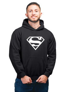 Supermen Superhero Unisex 100% Cotton Printed Hoodie (Black)