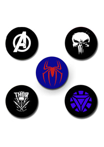 Superhero 2 Design Pin Badge Pack of 5