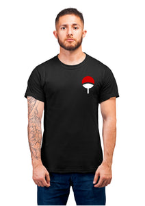 Unisex Uchiha Clan Half Sleeve Cotton Black Tshirts